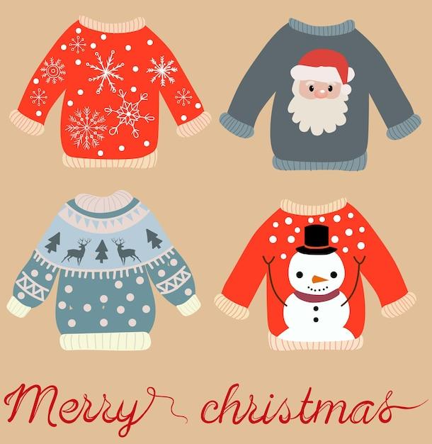 サンタクロース、雪だるま、雪片、エルクとクリスマスセーターの休日をテーマにしたパターン。 無料ベクター