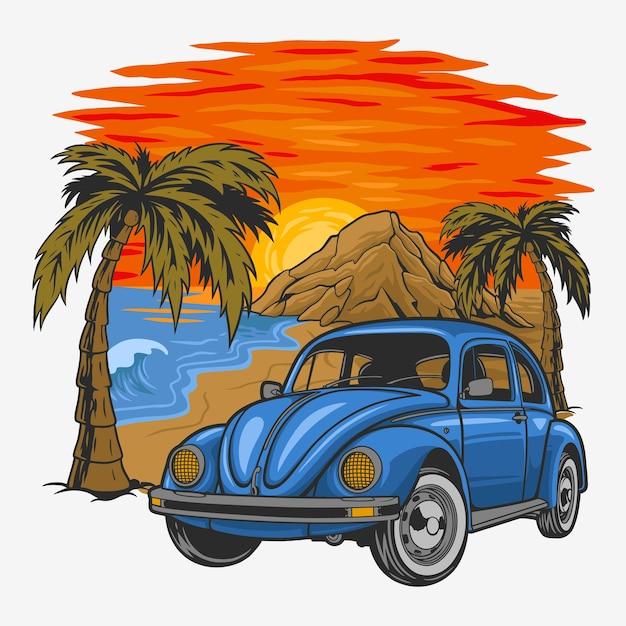 ビーチで夕日と休日のヴィンテージカー。 Premiumベクター