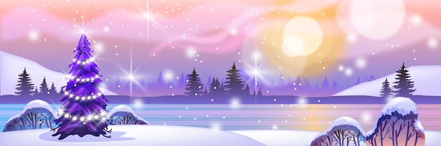 クリスマスツリー、花輪、凍った湖、森のシルエット、太陽と休日の冬の北の風景 Premiumベクター