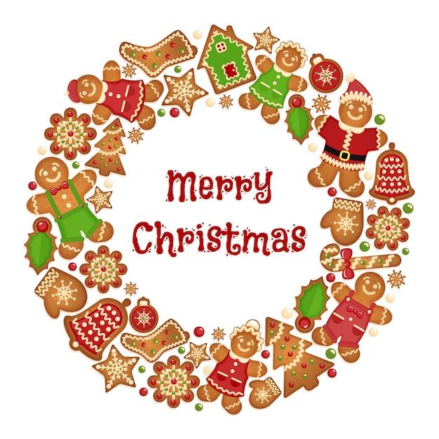Праздничный венок кадр рождественского печенья. праздник приветствие орнамент, варежки и бисквитный колокольчик, снежинка и дерево. Бесплатные векторы