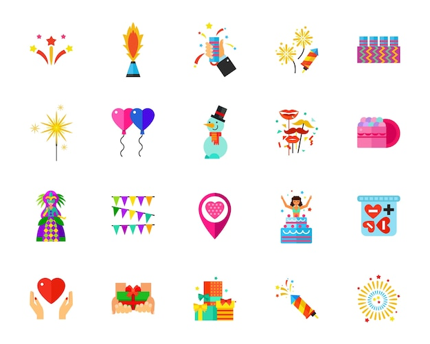 Holidays icon set Free Vector
