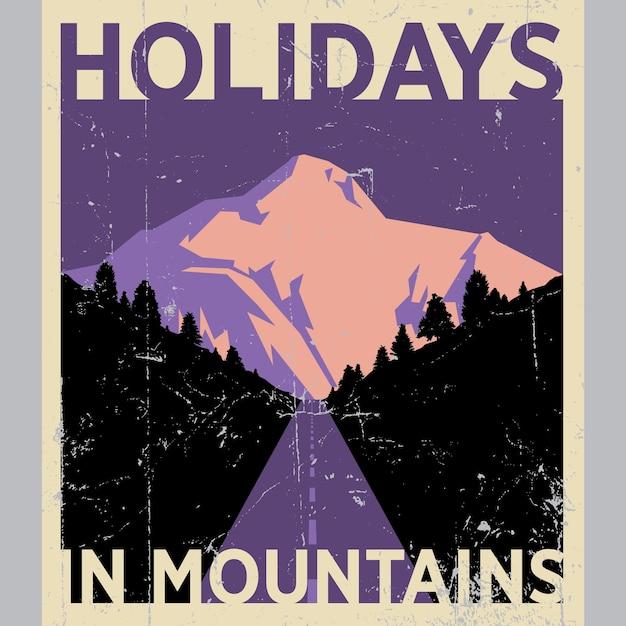 Праздники в горах плакат с красивой природой на эффективной иллюстрации Бесплатные векторы