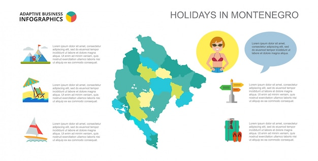 Holidays in montenegro slide template Free Vector