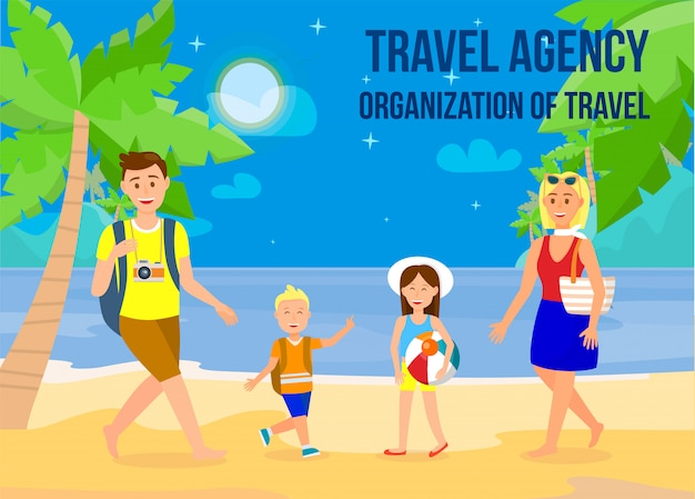 Holidays on sea resort flat banner with copyspace. Premium Vector