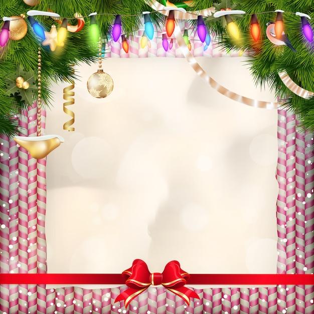 クリスマスに挨拶する休日のお菓子。 Premiumベクター