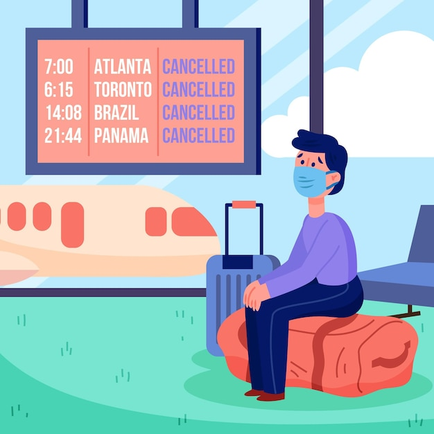 Holidays and travelling cancelling announcement Free Vector