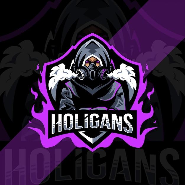 Holigansマスコットロゴeスポーツデザイン Premiumベクター