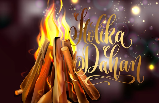 Holika dahan greeting card design with a realistic fire Premium Vector