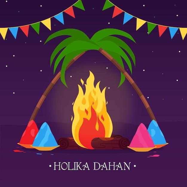 Holika dahan illustration with campfire and garlands Free Vector