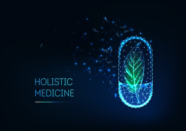 Holistic medicine concept with glowing futuristic low polygonal capsule pill and green leaf. Premium Vector