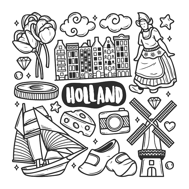 Holland icons hand drawn doodle coloring Vettore gratuito