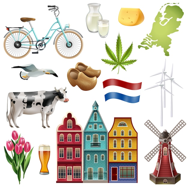 Holland netherlands travel icon set Free Vector