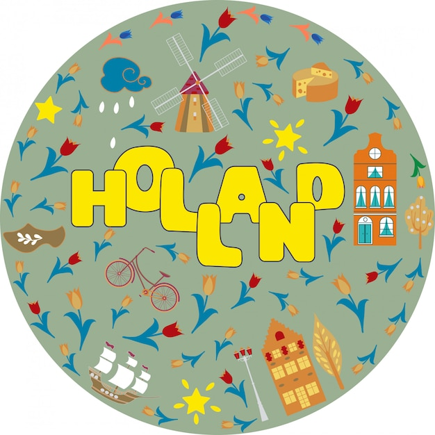Holland travel cultural and sightseeing symbols frame with tulips wooden clogs and windmills Premium Vector