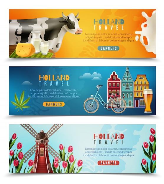 Горизонтальные баннеры holland travel Бесплатные векторы