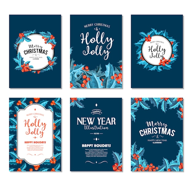 Holly jolly - christmas banners set. Free Vector
