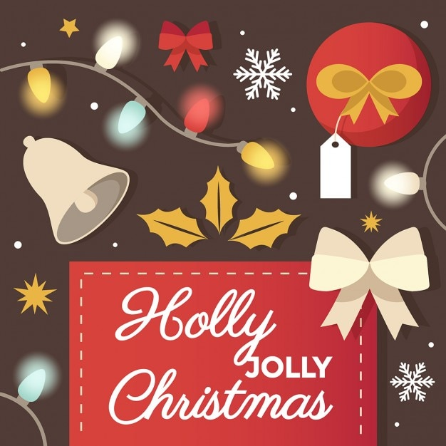 Holly jolly christmas greeting card design vector free download holly jolly christmas greeting card design free vector m4hsunfo
