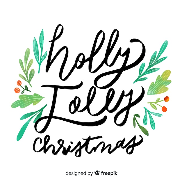 Holly jolly christmas lettering Free Vector