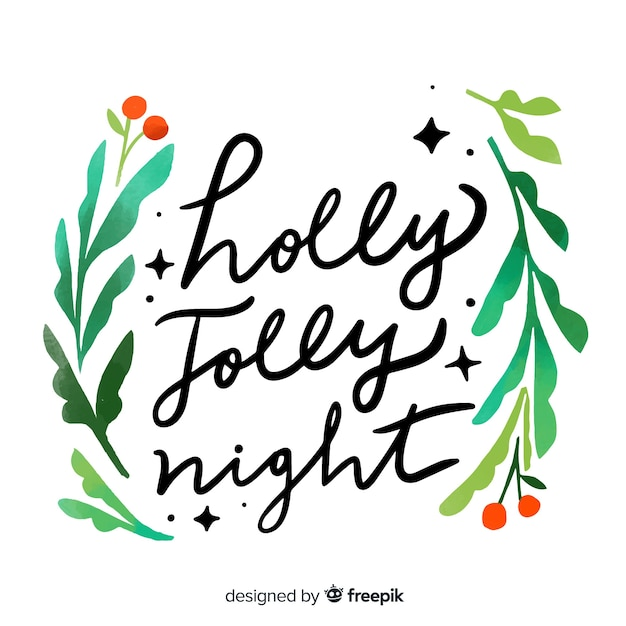 Holly jolly night christmas lettering Free Vector