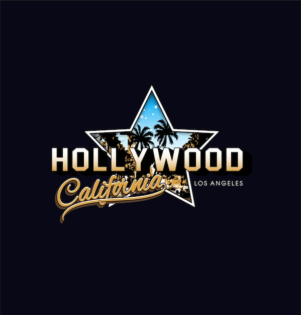 Hollywood california star Premium Vector