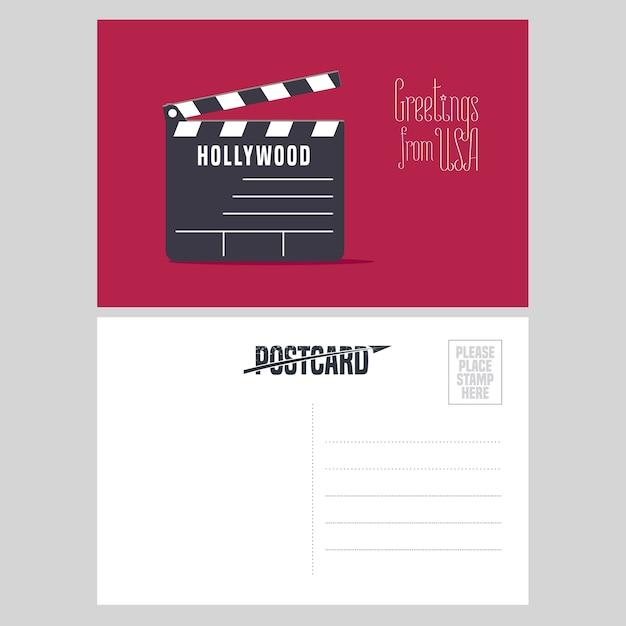 ハリウッドクラッパーボードのイラスト。アメリカへの旅行の概念のために米国から送信された航空便カードの要素 Premiumベクター