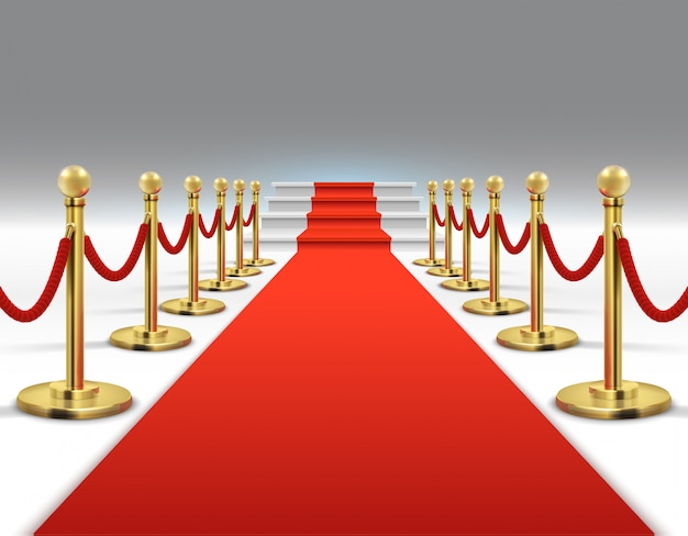 Hollywood luxury and elegant red carpet with stairs in perspective vector illustration. Premium Vector