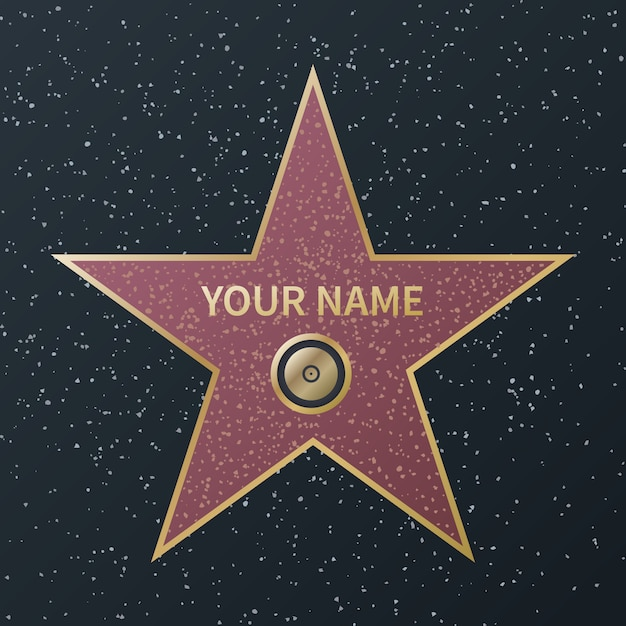 Hollywood walk of fame star. movie celebrity boulevard award, granite street stars of famous actororr success films,  image Premium Vector