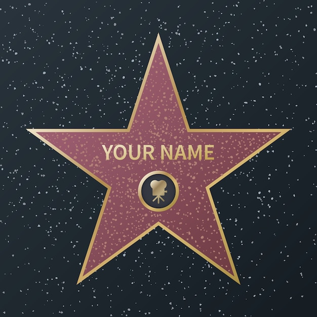 Hollywood walk of fame star. movie celebrity boulevard oscar award, granite street stars for famous actors, success films,  image Premium Vector