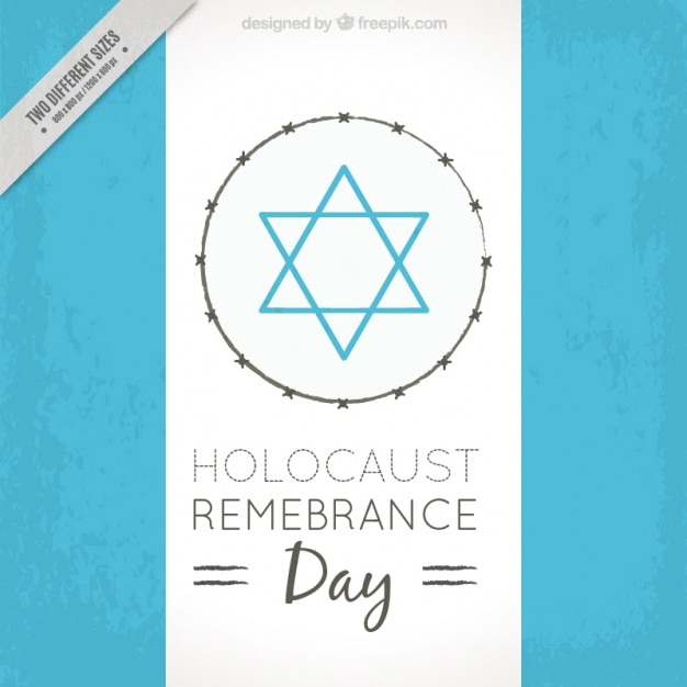 Holocaust remembrance day, blue star on white background Free Vector