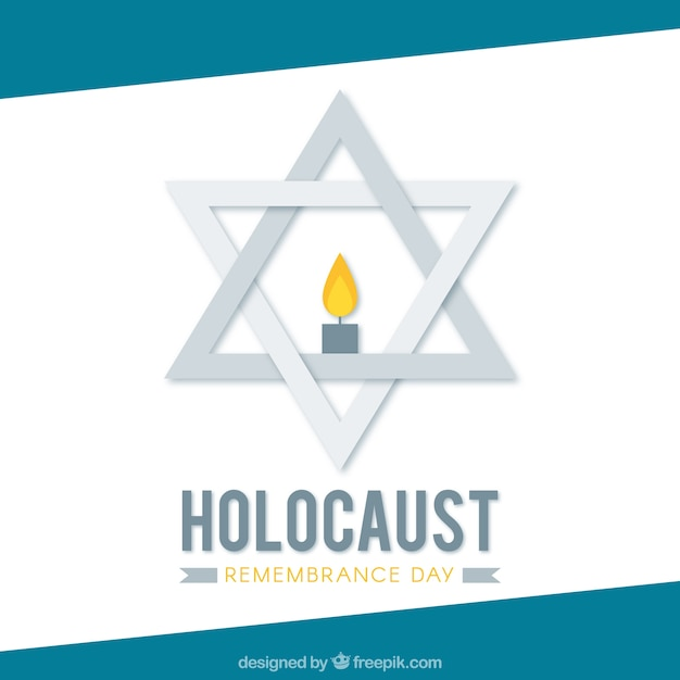 Holocaust remembrance day, gray star with a candle Free Vector