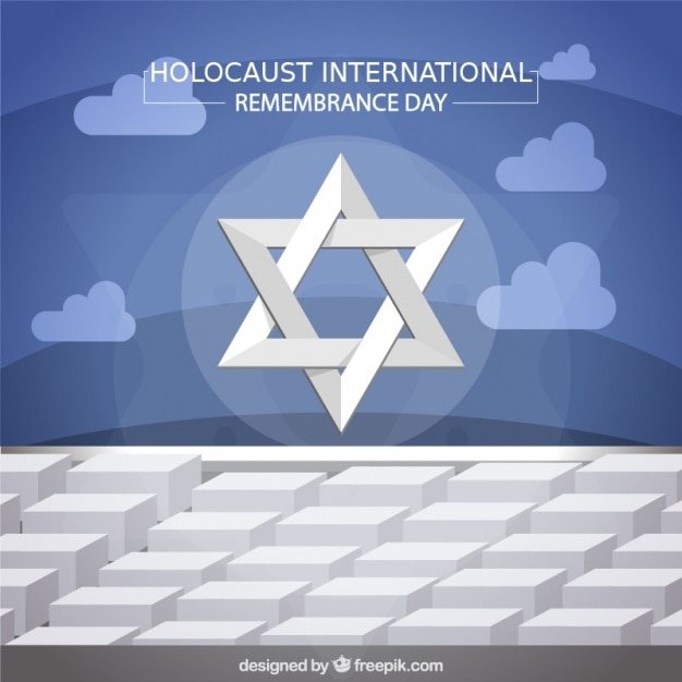 Holocaust remembrance day, star on monument in berlin Free Vector