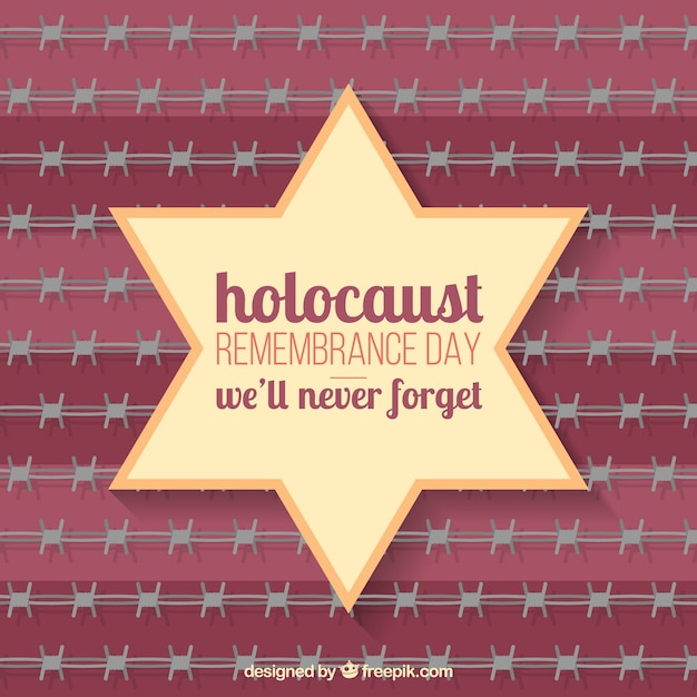 Holocaust remembrance day, star on red background Free Vector