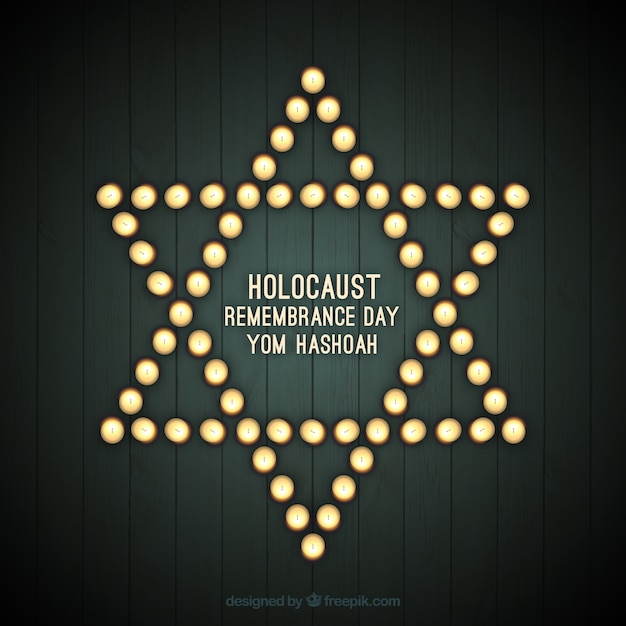 holocaust remembrance day  star with lights vector