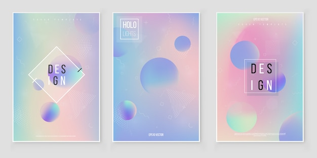 Hologram blurred background set blurred abstract iridescent holographic foil background. holographic foil vector Premium Vector