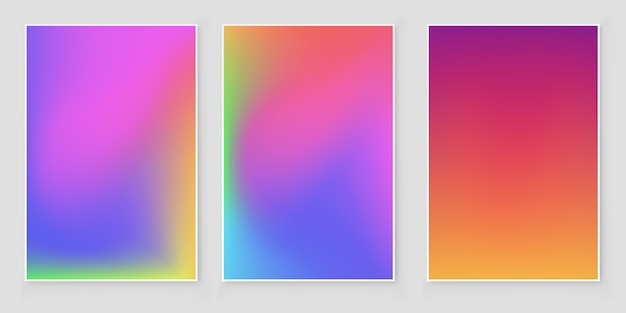 Hologram blurred background set blurred abstract iridescent holographic foil background. Premium Vector