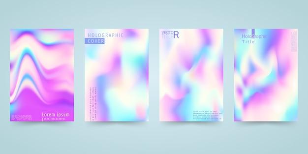 Hologram bright colorful background set Premium Vector