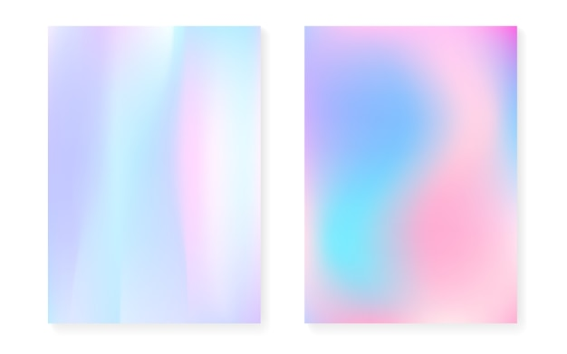 Hologram gradient background set with holographic cover. Premium Vector