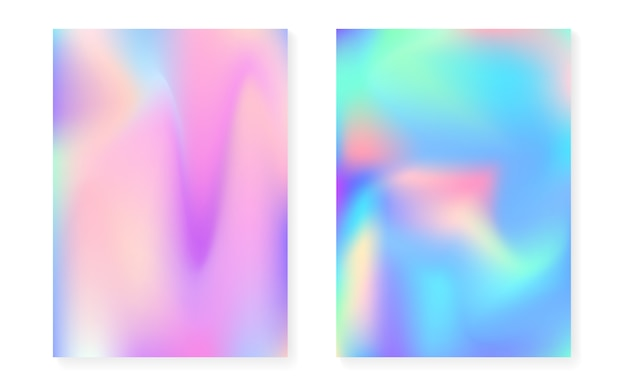 Hologram gradient background set Premium Vector