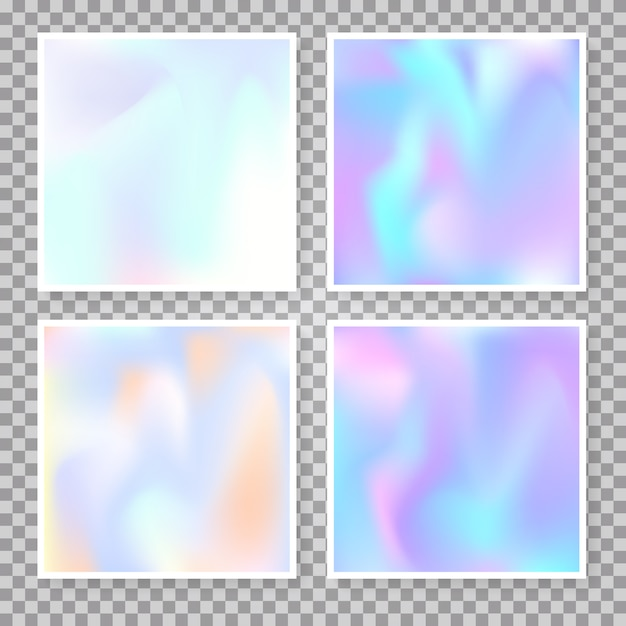 Holographic abstract background set. Premium Vector