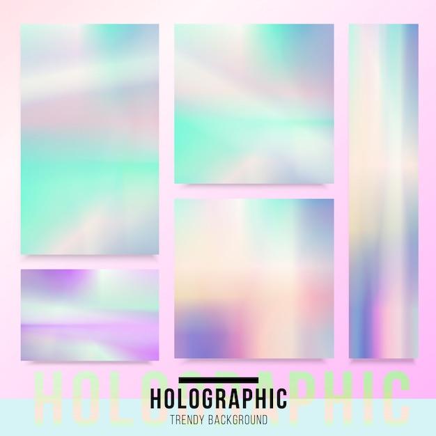 Holographic card background Premium Vector