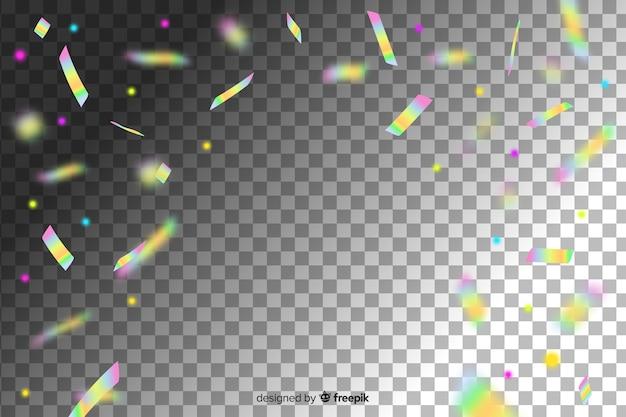 Holographic color decoration confetti background Free Vector