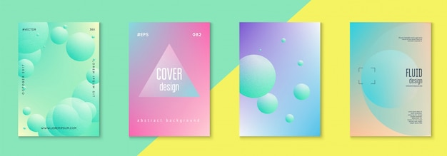 Holographic cover set fluid for business Premium Vector