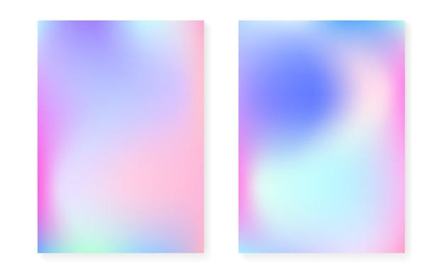Holographic cover set with hologram gradient background. Premium Vector