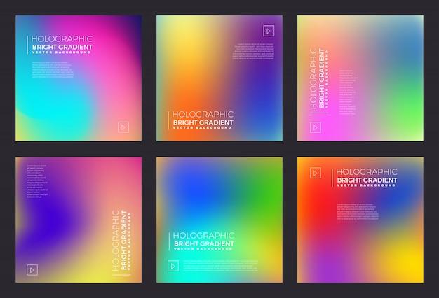 Holographic fluid bright gradient Premium Vector