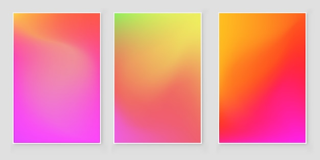 Holographic foil  gradient  iridescent  background set bright trendy minimal hologram Premium Vector