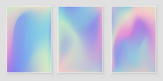 Holographic foil  gradient  iridescent cover   abstract cover set Premium Vector