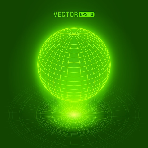 Holographic globe against the green abstract background with circles and light source Premium Vector