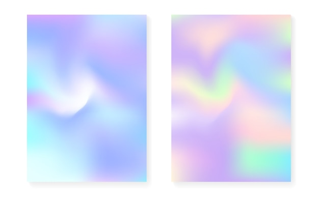 Holographic gradient background set with hologram cover. Premium Vector