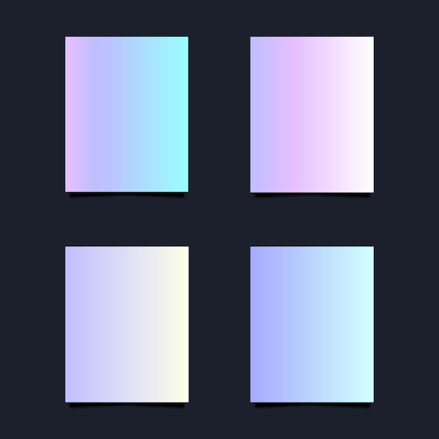 Holographic gradient card collection Free Vector
