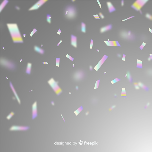 Holographic party glitter confetti background Free Vector