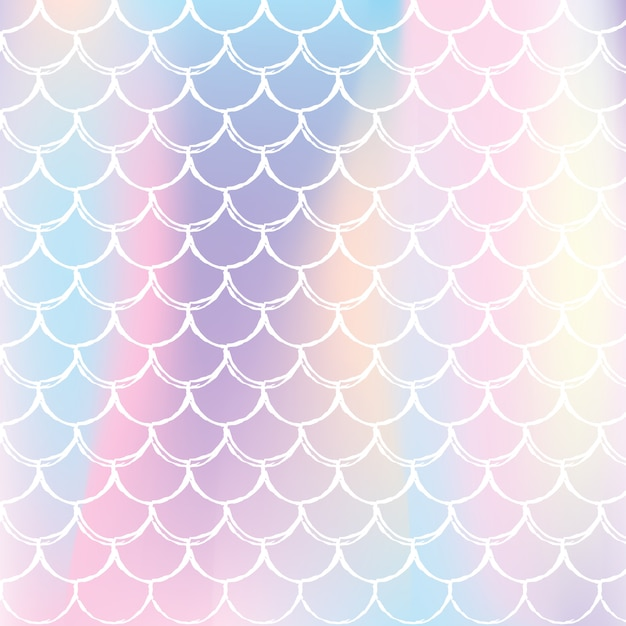 Holographic scale background with gradient mermaid. Premium Vector